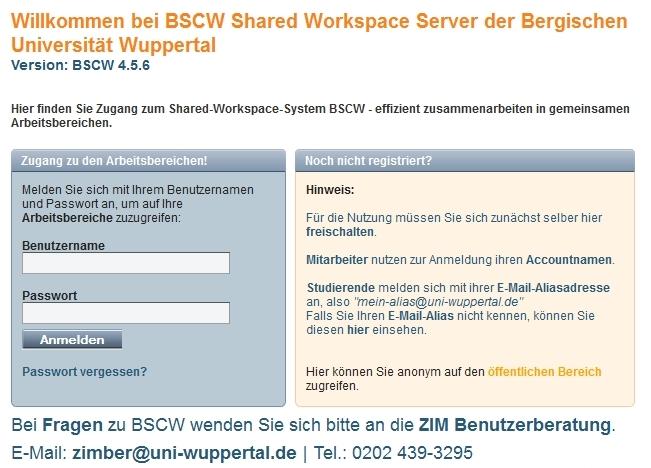 BSCW Anmeldung