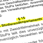 """§ 15 - """"Auflösung des Studierendenparlaments und Neuwahlen"""""""