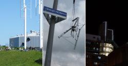 Die Windräder auf dem Flügelhügel (l.) sollten das MetaLicht (r.) mit Strom versorgen. In der Mitte: Eine baugleiche Anlage eines Kunden, die bei Starkwind zerrissen wurde (Foto: Furmanek)