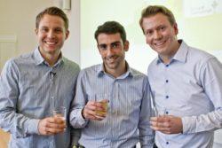 (4) Die drei Firmengründer und Erfinder der ›»Liwo« Limonade mit Wirkung‹, Patrick Pfäffle, Michael Taheri und Dr. Patrick Krell. (Foto: »vk«)